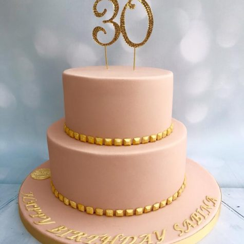 Stunningly simple 2 tier sharp edge 30th birthday cake, made in the favourite colours of the customer