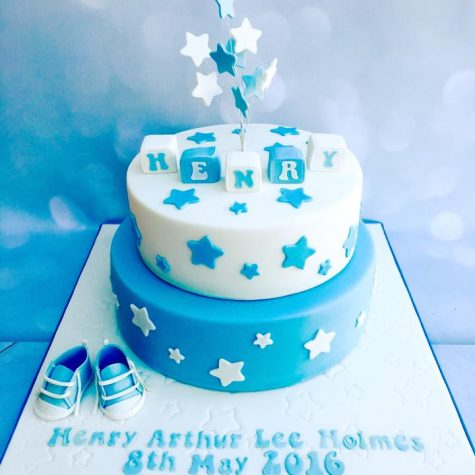 2 tier baby boy christening cake with handmade Converse pumps