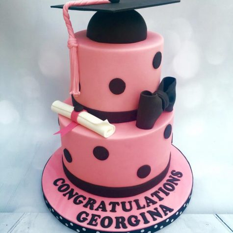 2 tier, triple layer graduation cake