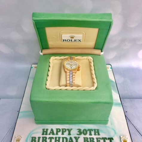 Rolex box cake, with handmade sugar Rolex watch