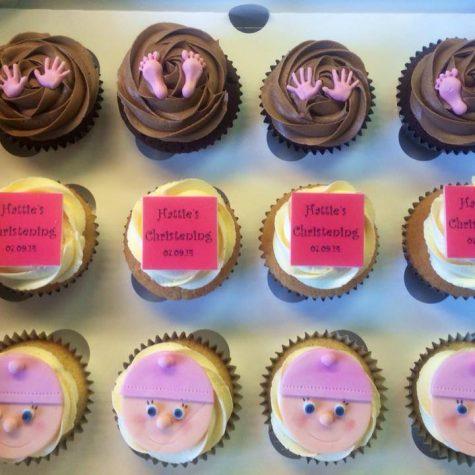 Baby girl christening cupcakes
