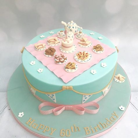 Bespoke vintage afternoon tea party cake, with handmade food/accessories - a stunning & intricate cake